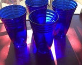 Cobalt Blue Glasses - Cobalt Barware - Cobalt Water Glass - Set of 4 Glasses - Serving Glasses - Cobalt Blue Glass - French Country - Blue