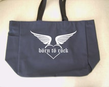 Born to rock heart tote bag - rockstar themed gift - polyester tote bag - heart and wings tote bag - original design rockstar bag