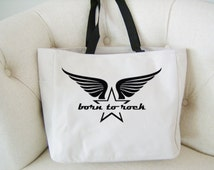 Retro font born to rock tote bag - rockstar themed gift - polyester tote bag - star and wings tote bag - original design rockstar bag