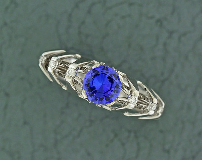 UPRISING SALE! Unique Architectural Engagement Style Tanzanite and Diamond Ring in 14kt White Gold