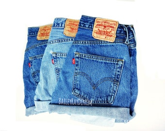 Levis High Waisted Cuffed Denim Shorts Rolled Up Denim Shorts Plain Jean Shorts