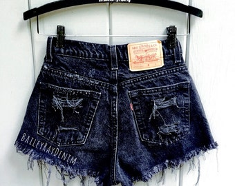 Levis High Waisted Cuffed Black Denim Shorts Rolled Up Denim Shorts Plain Jean Shorts