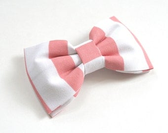 Coral and White Striped Hair Bow - Coral and White Striped Bow Tie - Striped Hair Bow - Striped Bow Tie - Coral Hair Bow - Coral Bow Tie