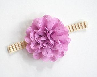 Baby headband, newborn headband, infant headband - light purple eyelet flower headband
