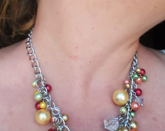 Pearl Cluster Necklace #1342