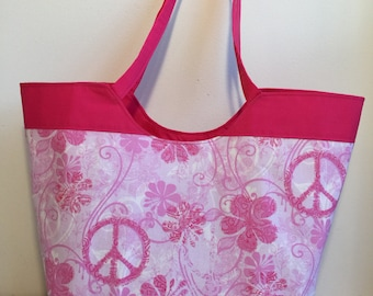 pink flower tote bag, pink purse