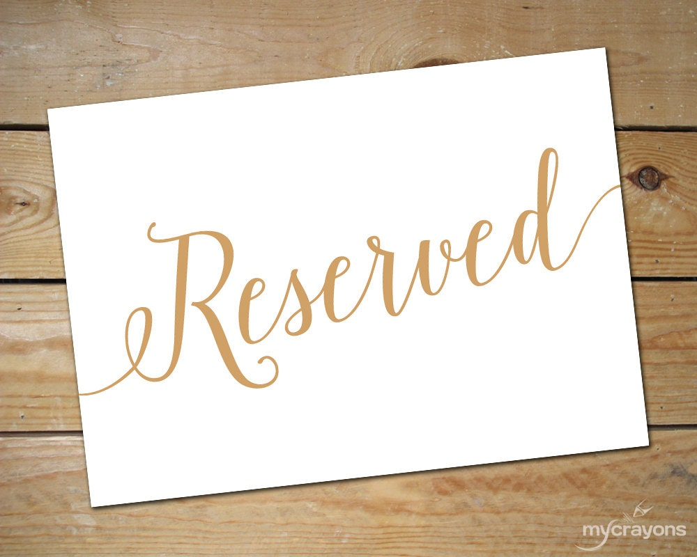Comprehensive image within printable reserved signs for wedding