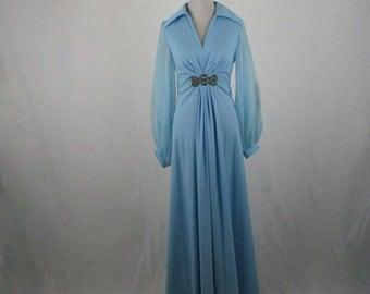 1970s JC Penney's Robin's Egg Blue Prom Dress