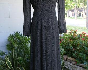 80's Does 30's Pin Dot Rayon Black Dress Liz Claiborne