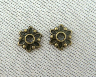 Bead Caps - Antiqued Bronze Brass Flower  (A0002AB) - 7mm - Qty 100 pcs.