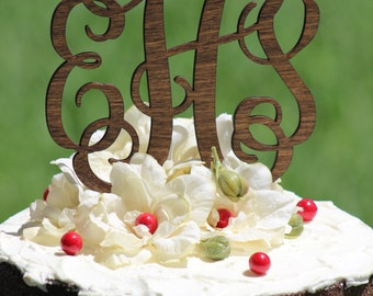 Rustic Wooder Monogram Wedding Cake topper - Wooden cake topper - Personalized Cake topper