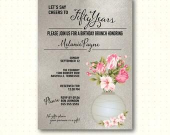 Adult Birthday Invitation, woman's, 30th, 40th, 50th, 60th, 65th, 70th, 90th, anniversary, silver, modern, digital, printable invite A70252