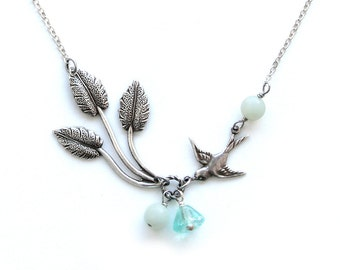 Wedding Jewelry Bridal Jewelry Bridesmaid Jewelry Bridesmaid Gift Necklace Teal Green Gemstone Bead Silver Chain Silver Leaf Bird Necklace