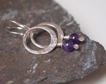 Amethyst earrings, silver hoop earrings, handmade artisan sterling silver jewellery, ARC Jewellery UK