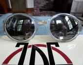 Gaultier Mirrored Sunglasses JPG Clear Frames Chrome and Brass Steampunk Industrial Jean Paul France Japan w Box 56-2272