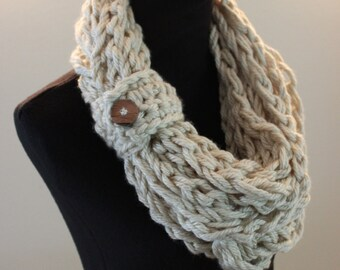 Cream Crochet Bulky Fall Autumn Warm Acrylic Infinity Scarf
