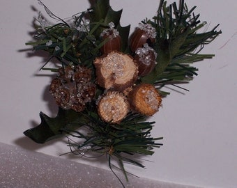 Woodsy Christmas pick,pecans,wood cookies with icy crystals and pine and holly,6 inch,holiday arrangements,Christmas crafts,wreaths