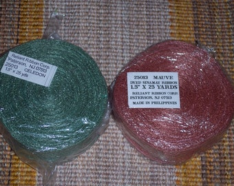Colored sinamay ribbon,open-weave,mauve,green,1.5 inches wide,25 yds,75ft/roll,bows,wreaths,crafts
