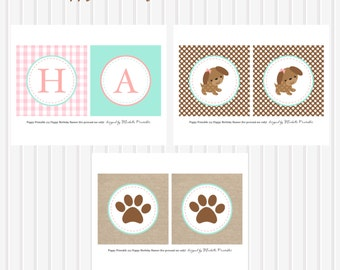 Puppy Party Personalized Happy Birthday BANNER by Marbella Printables