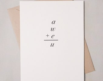Congratulations Geeky Math Card  / You Are Awesome Equation Card / Congrats/ New Job/ New House/ Just Because Card / Positively Awesome Card