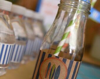 Vintage Surf's Up Water Bottle Labels