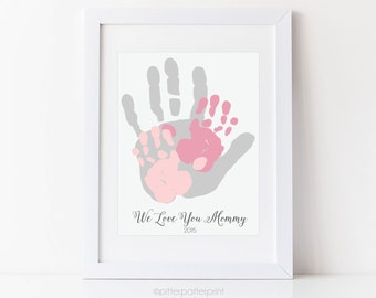 Gift for Mom, Mother's Day Gift, Child & Mother Handprint, Personalized Mother's Day Art Print, Your Child's Hands, 8x10 inches UNFRAMED