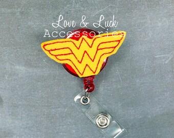 Wonder Woman ID Badge Reel - Nurse's Badge Reel Retractable- ID Badge Reel Holder