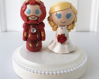 Iron Man Themed Wedding Cake Topper w/ customizable Bride and Groom! Made to Order!