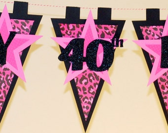 Pink Leopard 40th Birthday Party Banner