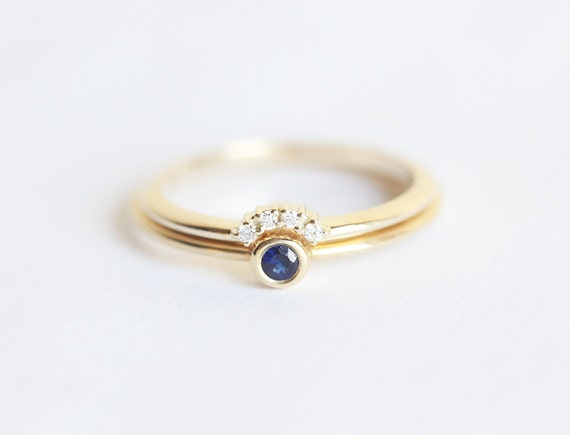 Tiny sapphire engagement ring with prong diamond crown ring for Tiny wedding ring
