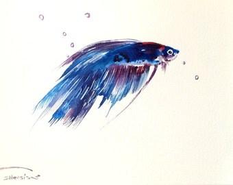Betta Fish, original watercolor painting, 12 x 9 in,aquarium fish tank art