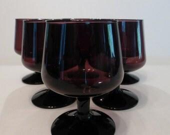 Deep Purple Stemware / Aperitif / Whiskey / Liqueur Glasses - Set Of Six