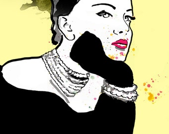 Yellow Grace,  Fashion illustration, print, poster