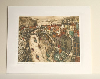 STAITHES PRINT, North Yorkshire Coast England, 27.5 x 21cm, Fishing Village Houses, Drypoint, Limited Edition Giclee Print, Clare Caulfield