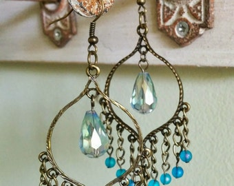 crystal and brass dangles