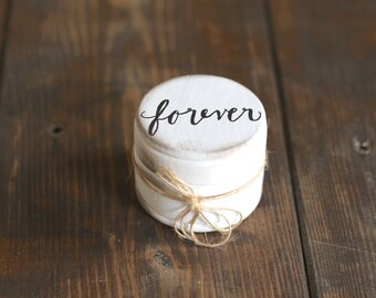 Ring Bearer Pillow Box with Lace, Forever, Rustic Vintage Wedding