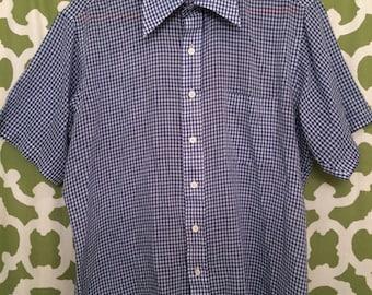 Vintage 1990s Blue Plaid Short Sleeve Macy's Men's Store Button Down Shirt Collar Shirt Dress Shirt Geometric Summer Spring Lightweight