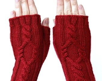 Hand Knitted Fingerless Gloves, Red, Gloves & Mittens, Gift Ideas, For Her, Winter Accessories, Accessories, MADE TO ORDER In Your Color