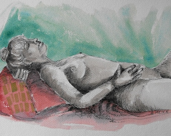 Original figure study, pen and ink, watercolour washes on paper, from live female model, 9 X 12, Figure 59