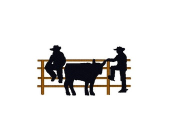 Cowboy Machine Embroidery Design, Silhouette embroidery design, cowboy fence embroidery design, cowboy embroidery, western embroidery design