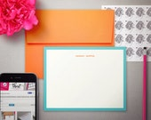 Personalized Stationery - Flat Notes Gift Set with Colorful Envelopes - Personalized Stationary