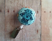 Retractable Badge Reel ID Holder, Robot on Blue Cotton Print, Made in USA, Quick Ship, Science Badge Reel, Blue Badge Clip, Robot Clip