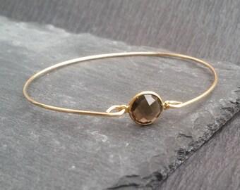 Natural Smoky Quartz Bangle Bracelet, Gemstone Jewelry, Grey Stone Bangle, 14k Gold bangle Bracelet, Natural Quartz Jewelry, Smoky Quartz