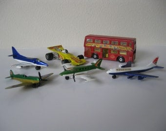 Six Early 1970's Matchbox Items - Four Aircraft - One Speedking Racer - Swinging London Double-decker Bus