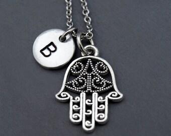 Fatima's hand Necklace, Silver fatima hand, Silver Hamsa hand, initial necklace, initial hand stamped, personalized, monogram