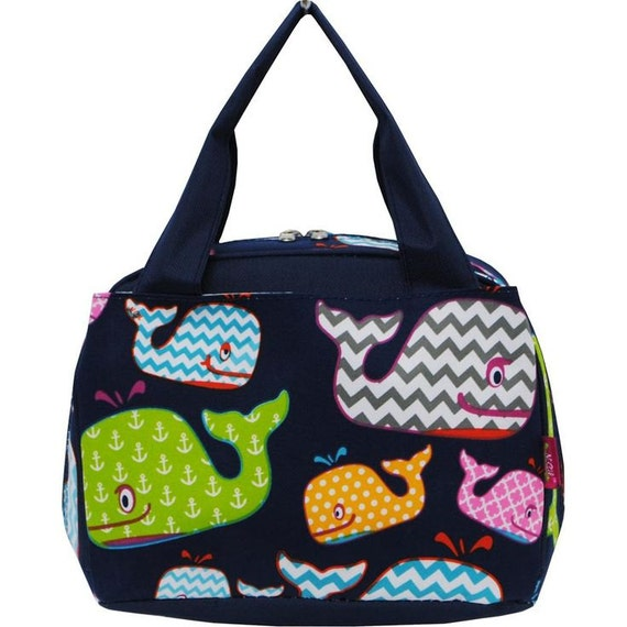 Monogrammed Lunch Bags Navy Whales Navy Or By
