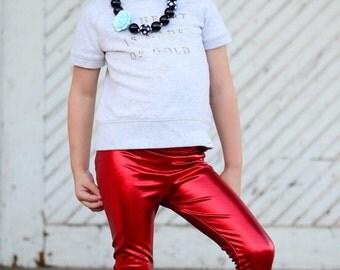 Dreaming Kids Red Metallic Leggings