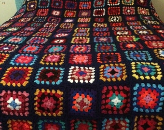 Queen Sized Granny Square Blanket