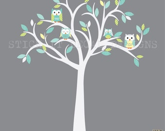 Owl decal, Owl tree wall sticker, owl wall decal, blue owl set, nursery owl decor. Not As Pastel Design / Barely Grey Tree