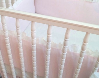 Linen Crib  bedding - 4 side bumper   light pink with white  ruffle ,  - Girl Nursery bedding